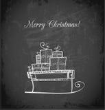 Carte de voeux de vintage avec le traîneau de Noël Photographie stock