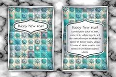Carte de voeux de vintage de Noël et de nouvelle année Fond de flocon de neige de mosaïque de tuile Illustration de vecteur Photographie stock