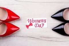 Carte de voeux dessinée par jour du ` s de femmes Photos libres de droits