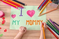 Carte de voeux de dessin de petite fille pour le jour du ` s de mère Image stock