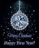 Carte de voeux de diamant de Joyeux Noël et de bonne année avec la boule de Noël illustration stock