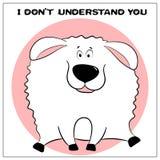 Carte de voeux drôle de vecteur avec de gros moutons mignons et expression de bande dessinée Le concept de la conception d'amusem illustration de vecteur