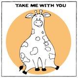 Carte de voeux drôle de vecteur avec la grosse girafe mignonne et l'expression de bande dessinée Le concept de la conception d'am illustration libre de droits