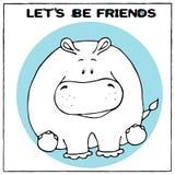 Carte de voeux drôle de vecteur avec le gros hippopotame mignon et l'expression de bande dessinée Le concept de la conception d'a illustration stock