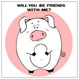 Carte de voeux drôle de vecteur avec le gros porc mignon et l'expression de bande dessinée Le concept de la conception d'amusemen illustration de vecteur
