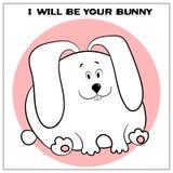 Carte de voeux dr?le de vecteur avec le gros lapin mignon et l'expression de bande dessin?e Le concept de la conception d'amuseme illustration de vecteur
