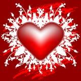Carte de voeux du jour de Valentine avec des fleurs et coeur sur la carte de voeux Photographie stock