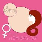 Carte de voeux du jour des femmes avec beau sur les éléments roses de conception de fond Image stock