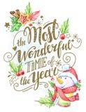 Carte de voeux du lettrage, du bonhomme de neige d'aquarelle et des décorations tirés par la main de vacances illustration stock