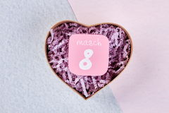 Carte de voeux et boîte en forme de coeur Photographie stock