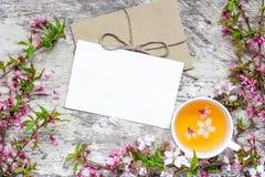 Carte de voeux et tasse vides de thé vert de fleur avec des branches de cerise de floraison Photographie stock