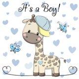 Carte de voeux de fête de naissance avec le garçon mignon de girafe illustration stock