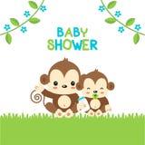 Carte de voeux de fête de naissance avec le singe de maman et de bébé illustration stock