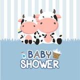 Carte de voeux de f?te de naissance avec peu de vache Illustration de vecteur illustration libre de droits