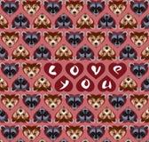 Carte de voeux faite de petits visages mignons de peu d'animaux de sourire sauvages illustration de vecteur