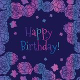 Carte de voeux florale écervelée de vecteur de joyeux anniversaire de roseraie pourpre de rose illustration de vecteur