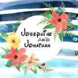 Carte de voeux florale avec les fleurs colorées et la bande bleue dessinées Photographie stock libre de droits