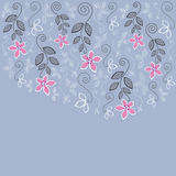 Carte de voeux florale bleue et rose Photographie stock libre de droits