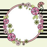 Carte de voeux florale de cercle de vintage Bande marine réglée par fleurs Photographie stock