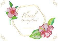 Carte de voeux florale d'aquarelle avec le cadre d'or illustration de vecteur