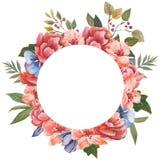 Carte de voeux florale d'aquarelle Bouquet floral d'aquarelle Trame décorative florale D'isolement sur le fond blanc Photos libres de droits