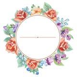 Carte de voeux florale d'aquarelle Bouquet floral d'aquarelle Trame décorative florale D'isolement sur le fond blanc Photographie stock libre de droits
