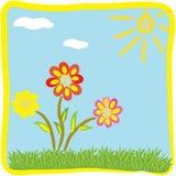 Carte de voeux florale de dessin animé enfantin Images libres de droits