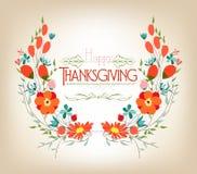 Carte de voeux florale de thanksgiving de fond avec les fleurs décoratives Image libre de droits