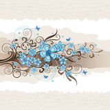 Carte de voeux florale de turquoise Illustration de Vecteur