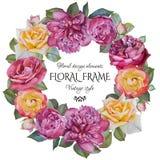 Carte de voeux florale de vintage avec un cadre des roses et des pivoines d'aquarelle Photos libres de droits