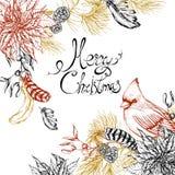 Carte de voeux florale de vintage de Noël illustration de vecteur