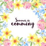 Carte de voeux florale, invitation, bannière Vue pour vos WI des textes Images stock