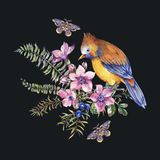 Carte de voeux florale de for?t de cru d'aquarelle avec l'oiseau, baies, mite, foug?re, fleurs roses illustration libre de droits