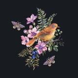 Carte de voeux florale de for?t de cru d'?t? d'aquarelle avec l'oiseau, baies, mite, foug?re, fleurs roses illustration de vecteur