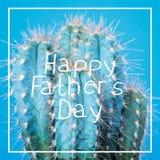 Carte de voeux folle de fête des pères de cactus Image libre de droits