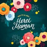 Carte de voeux française de jour du ` s de mère Confettis et Rose Floral Background de feuille d'or Texte de calligraphie de crai Photos libres de droits