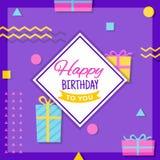 Carte de voeux géométrique de joyeux anniversaire Photo libre de droits