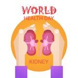 Carte de voeux globale de bannière de vacances de jour du monde de santé de rein de prise de main illustration de vecteur