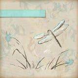Carte de voeux grunge de libellule de croquis de vintage Image stock
