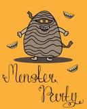 Carte de voeux de Halloween pour la partie de monstre Affiche de Veille de la toussaint illustration de vecteur