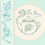 Carte de voeux heure du thé avec des tasses Image libre de droits