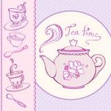 Carte de voeux heure du thé avec des tasses Image stock