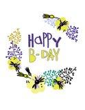 Carte de voeux heureuse de B-jour Conception à la mode dans le style scandinave Lettrage de main et d?coration florale illustration de vecteur