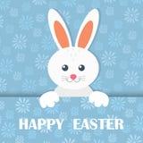 Carte de voeux heureuse colorée de Pâques avec le lapin, bannières, lièvres Vecteur Photographie stock