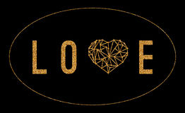 Carte de voeux heureuse d'amour de jour de valentines avec le coeur géométrique et l'effet d'or de scintillement sur le fond noir Images libres de droits