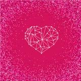 Carte de voeux heureuse d'amour de jour de valentines avec le coeur géométrique sur le fond rose lumineux avec l'effet de scintil Photographie stock libre de droits
