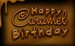 Carte de voeux heureuse d'anniversaire de caramel, couleurs brunes, effets brillants Partie de caramel Photos stock