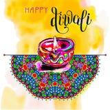 Carte de voeux heureuse d'aquarelle de Diwali aux WI indiens de festival du feu Images stock