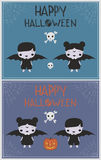 Carte de voeux heureuse d'illustrations d'enfants de costume de vampire de Halloween Photo libre de droits
