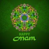 Carte de voeux heureuse d'Onam Origine ethnique de vecteur Image stock